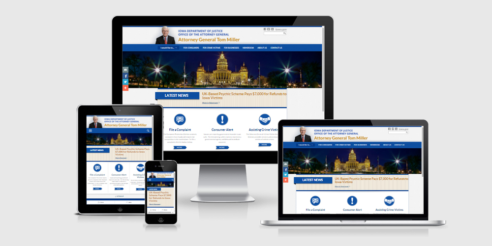 Collage of multiple devices displaying Attorney General of Iowa website.