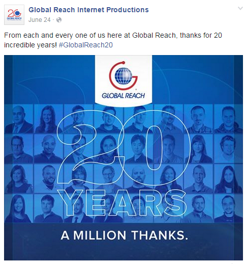 Global Reach shares company anniversary to provide a company update to followers