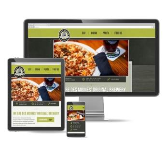 Multiple devices showing Court Ave Brewing website homepage.