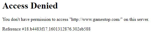 Image of a screenshot from a user who was blocked from the website gamestop.com