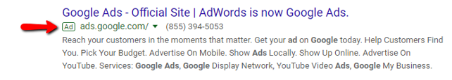 Google Ad search result.