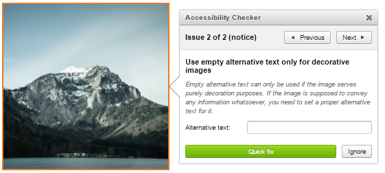 Accessibility Checker detects missing alt text.