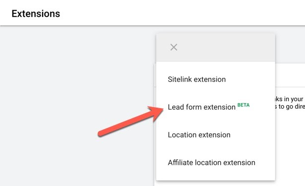 Global Reach example of Where to find the Lead Form Extension on Google Ads