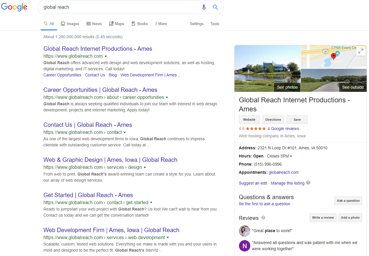 An example of a Google My Business profile