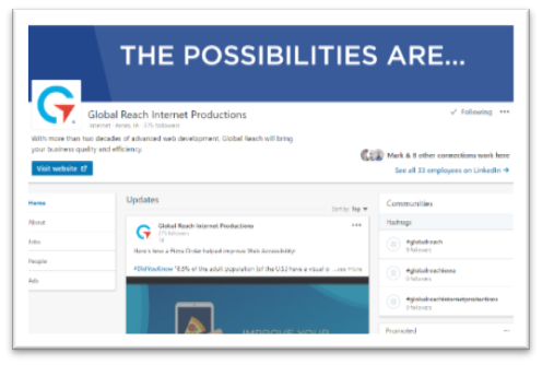 Screenshot of Global Reach's LinkedIn Pofile