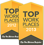 Des Moines Register Top Places to Work logos for 2012 and 2013.