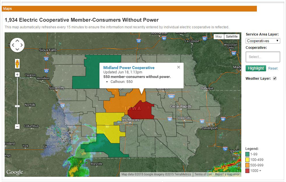 map of Iowa showing areas where there is a power outage