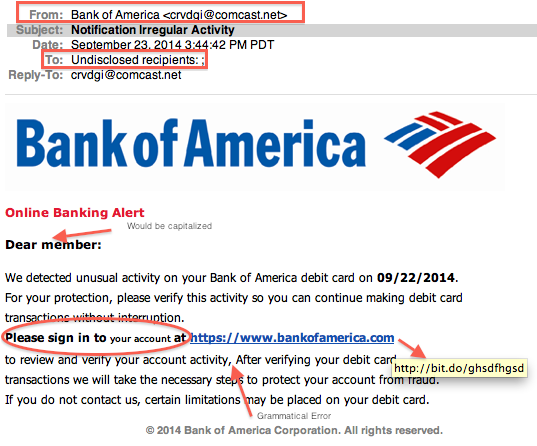 Example of a fake email from Bank of America that is actually a phishing attempt