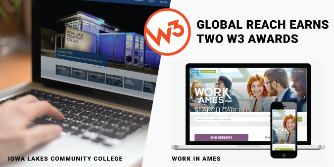 W3 awards logo and homepage of award winning websites displayed on laptops.