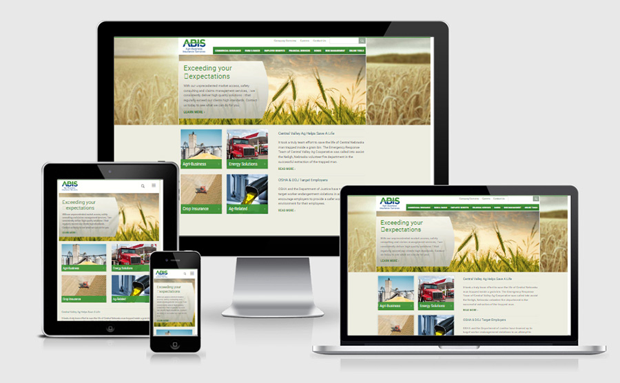 ABIS responsive website viewed on various devices
