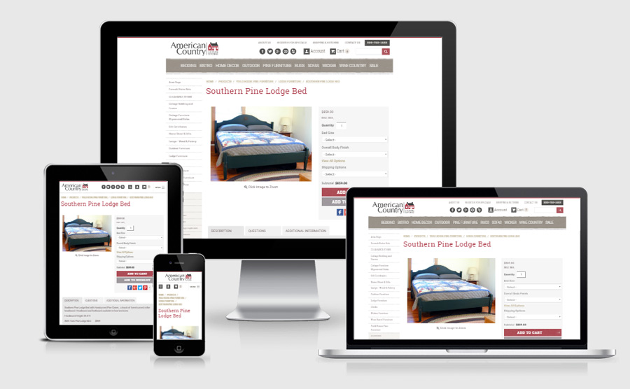 Responsive e-commerce page viewed on various devices
