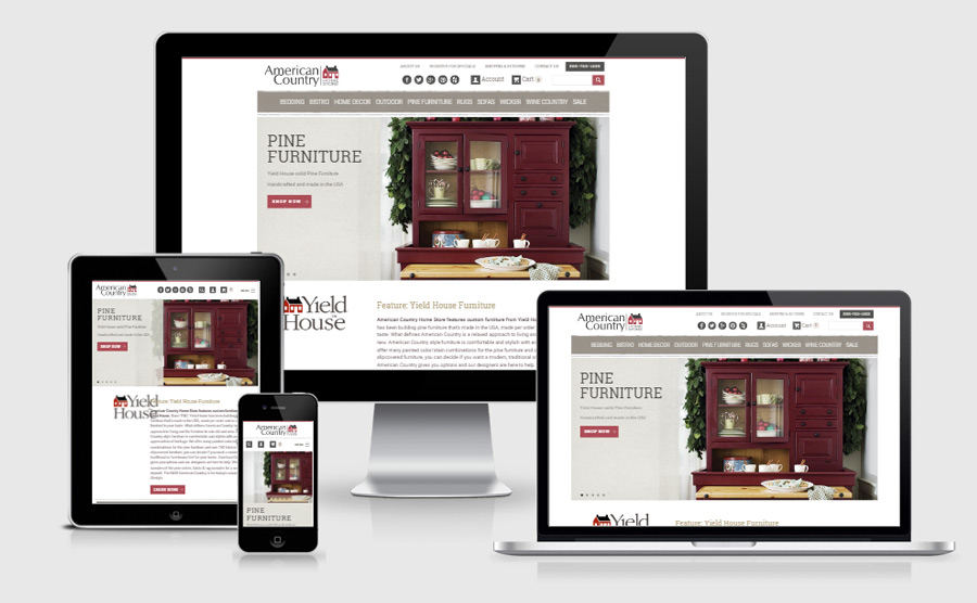 American Country Homestore responsive website viewed on various devices