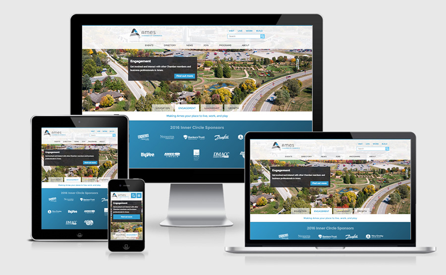 Ames Economic Development responsive website showcase