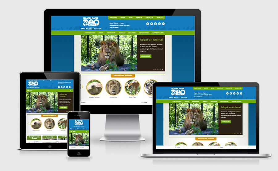 Blank Park Zoo responsive website showcase