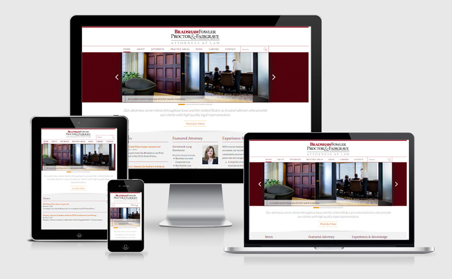 Responsive homepage viewed on various devices