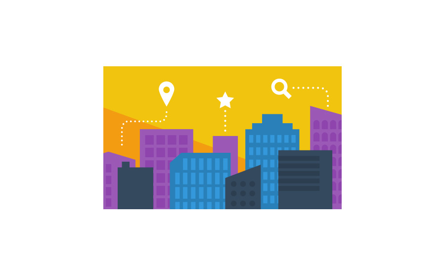 Illustration of buildings to signify local SEO.