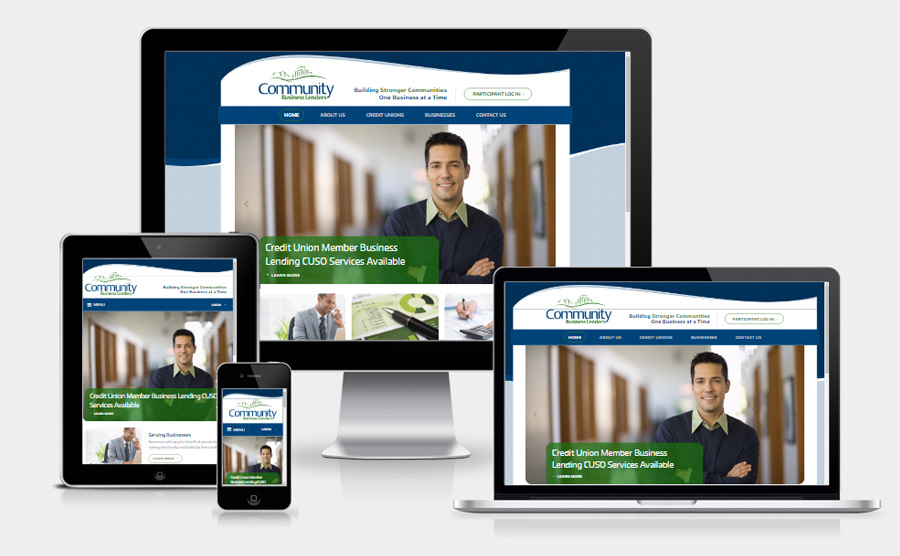 Community Business Lenders responsive website viewed on various devices
