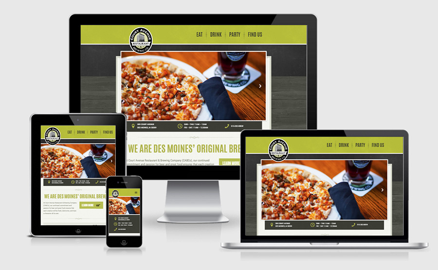 Court Avenue Brewing Co. responsive website showcase