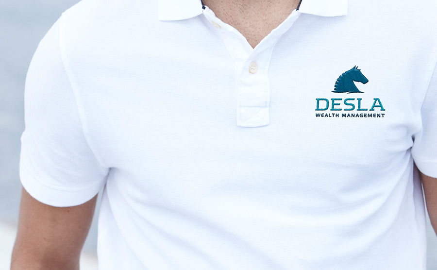Desla logo embroidered on a polo shirt