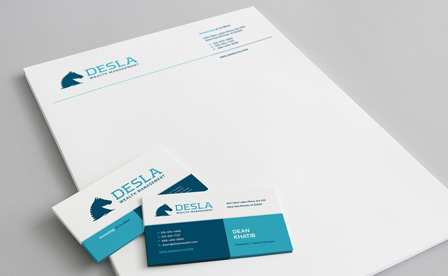 Desla Wealth Management letterhead and business card
