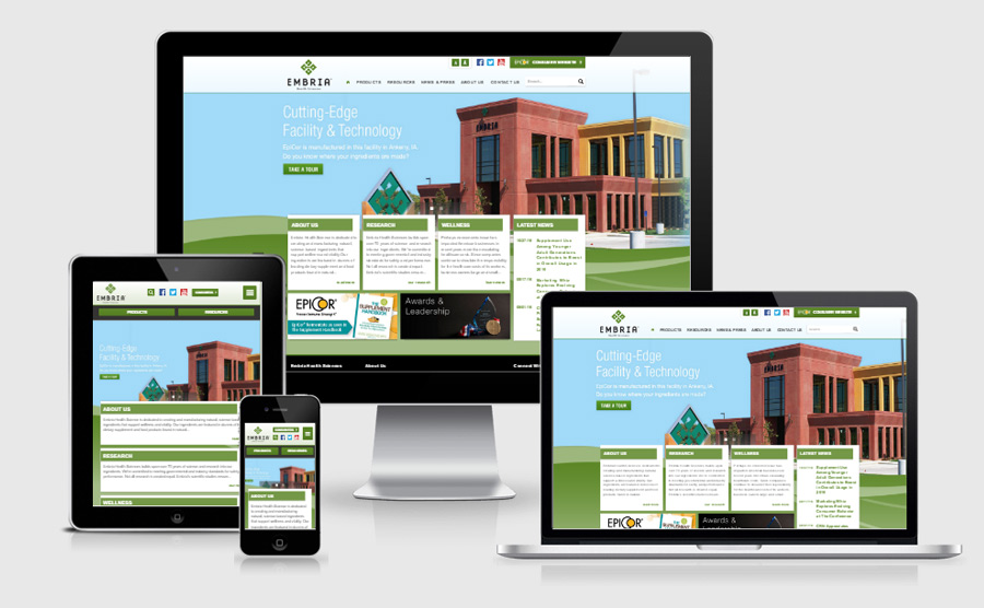 Embria responsive website viewed on various devices