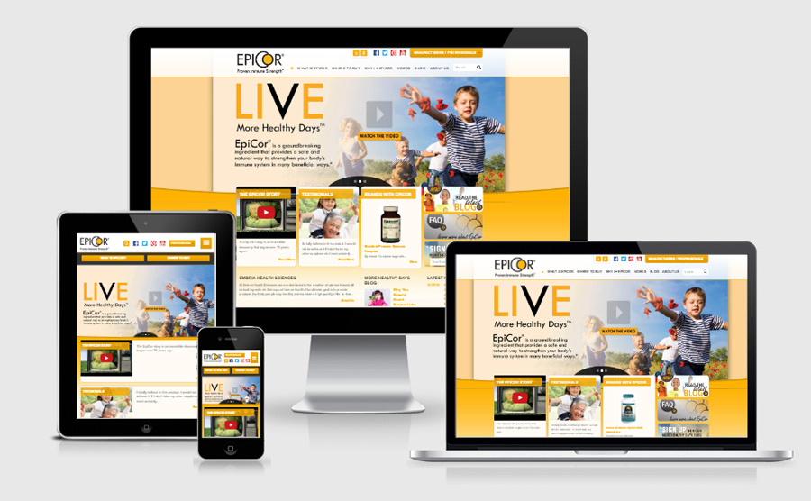 Epicor responsive website viewed on various devices