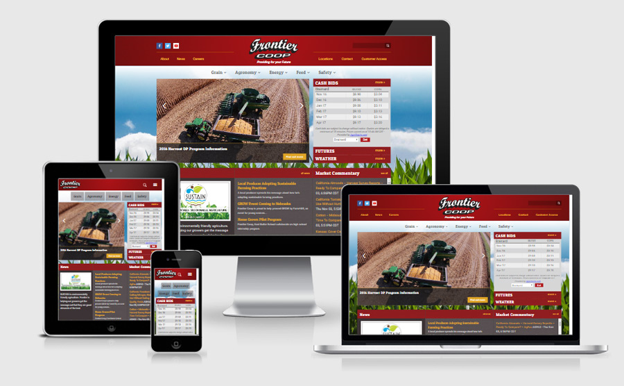 Frontier Coop responsive website viewed on various devices