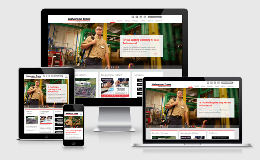 Halvorson Trane responsive website viewed on various devices