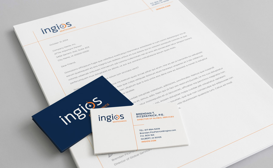 Ingios letterhead and business card design