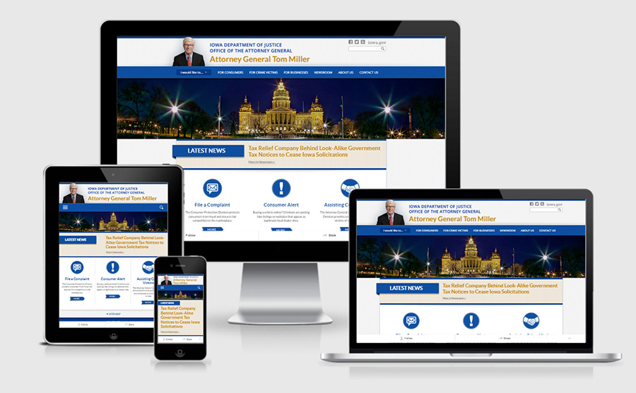 Iowa Attorney General responsive website showcase