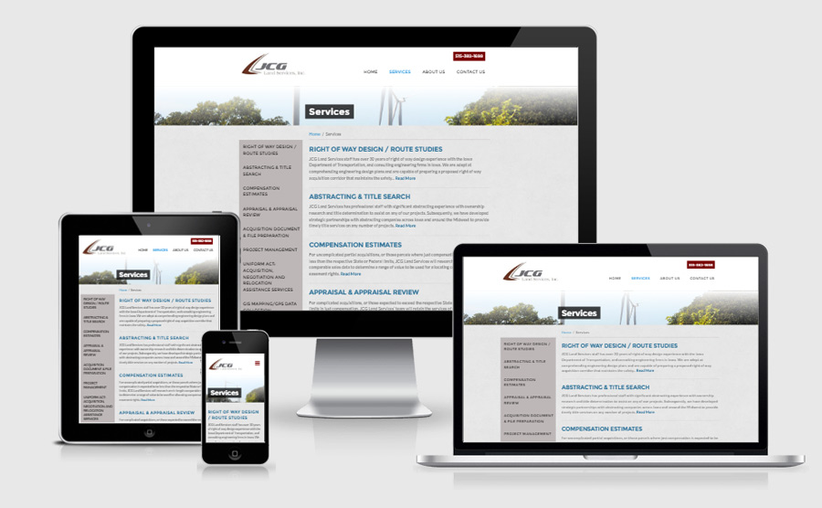 JCG Land Services responsive inside page viewed on various devices