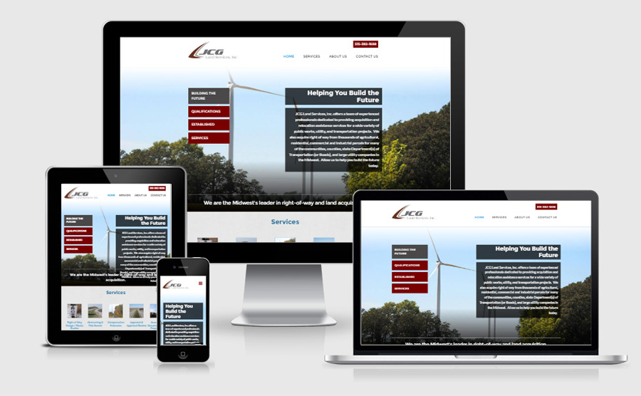 JCG Land Services responsive homepage viewed on various devices