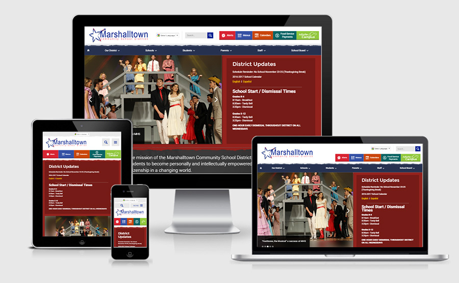 Marshalltown School District responsive website showcase