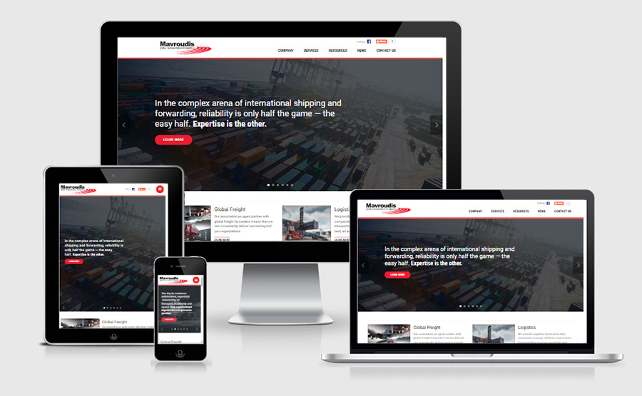Mavroudis responsive homepage on various devices