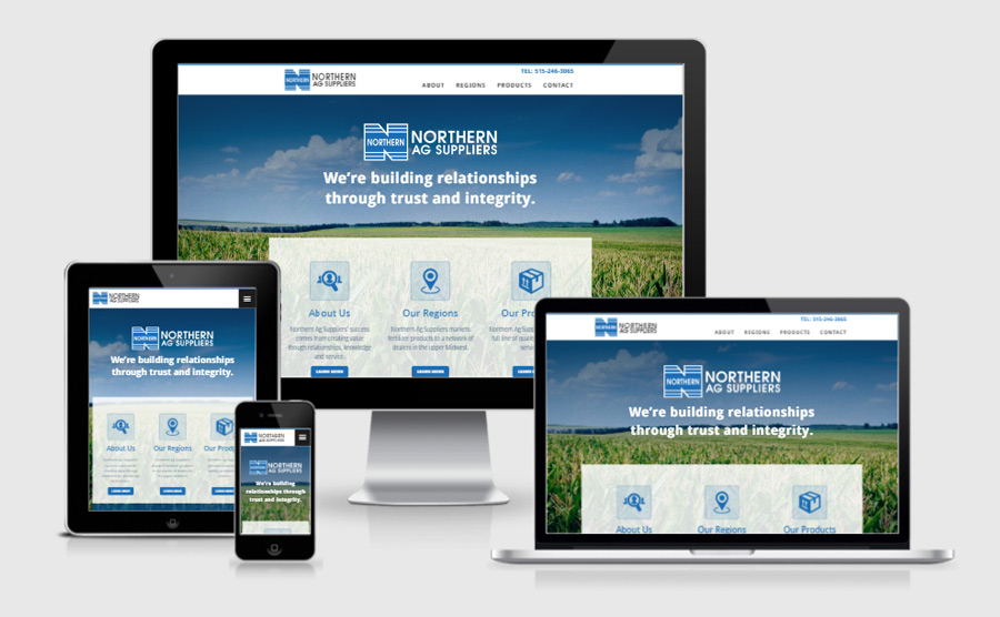 Northern Ag Suppliers responsive website viewed on various devices