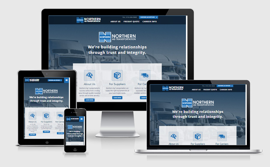 Northern Ag Transportation responsive homepage