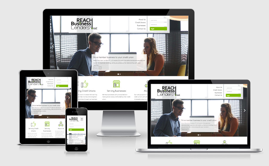 Responsive homepage viewed on multiple devices