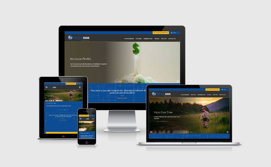 Responsive image of Electric Ease website design