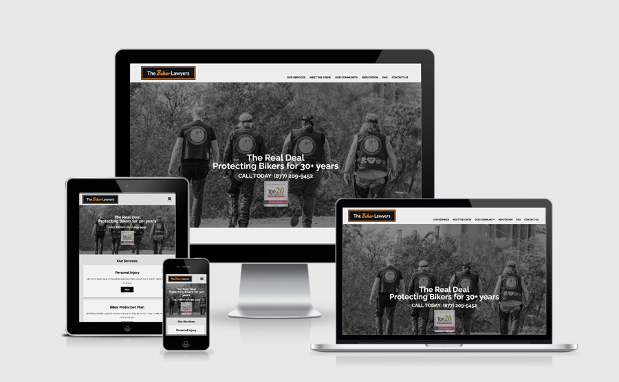Responsive image of The Biker Lawyers website