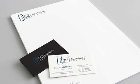 SM Aluminium Creations letterhead and business card