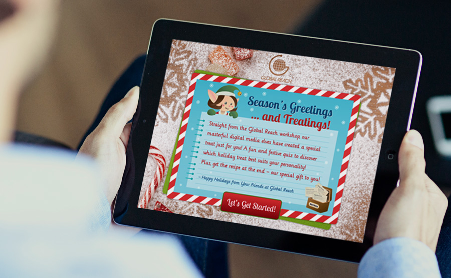 Start screen for the holiday e-greeting quiz