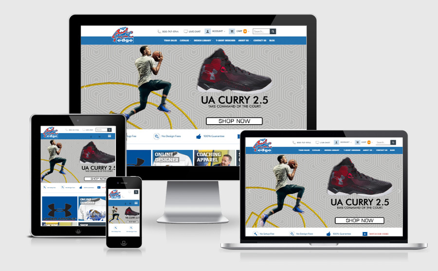 The Graphic Edge responsive website viewed on various devices