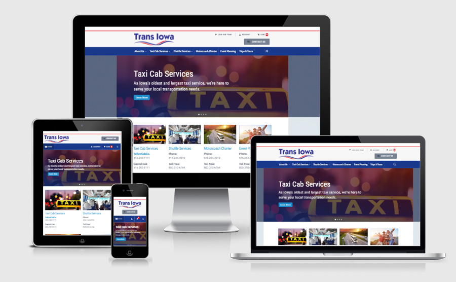 TransIowa responsive website viewed on various devices