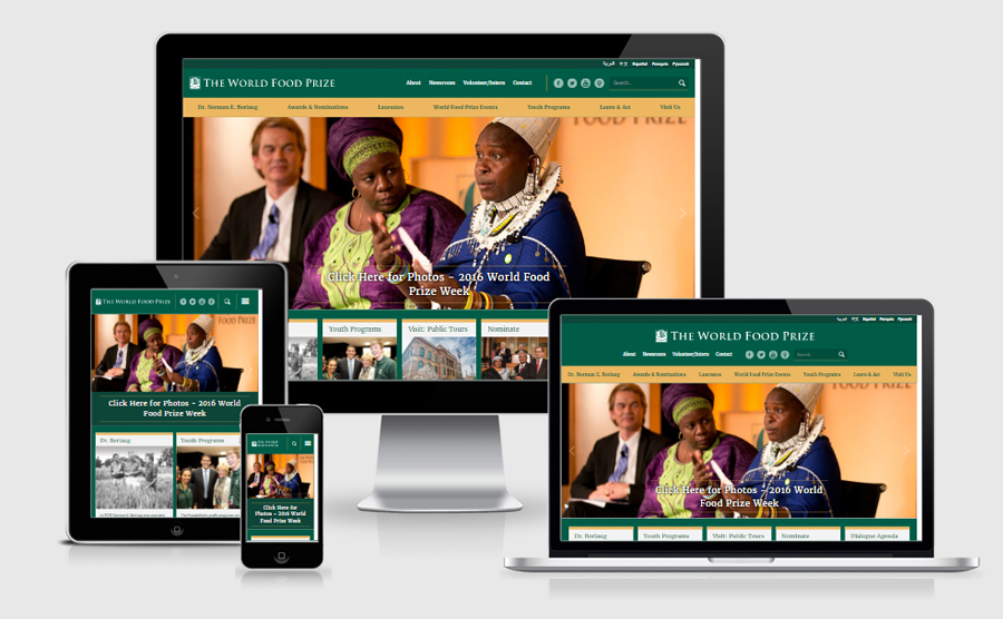 World Food Prize responsive website viewed on various devices