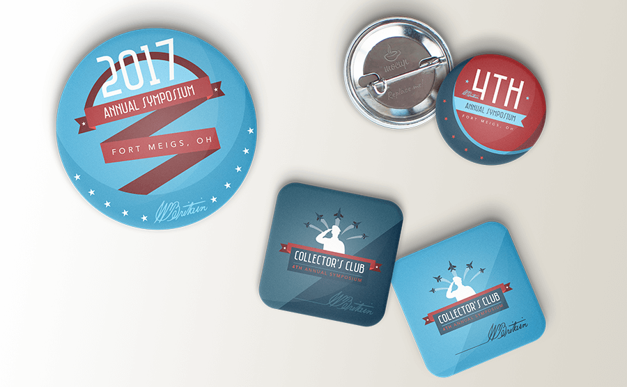 Commemorative buttons for the event
