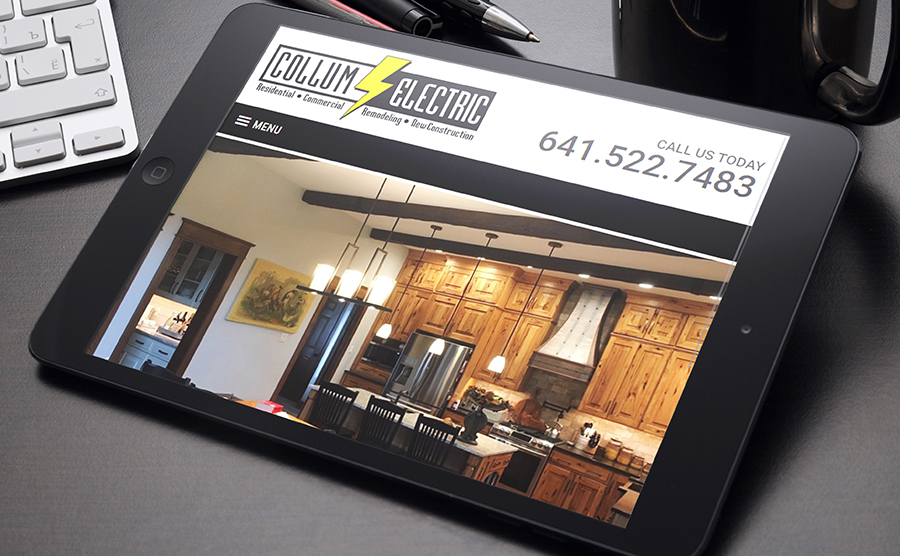 iPad Mockup website image of Collum Electric Services