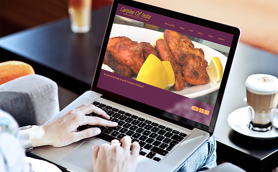 Laptop Mockup website image of Cuisine of India