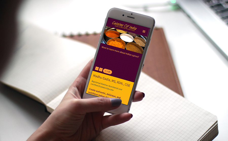 Phone Mockup website image of Cuisine of India