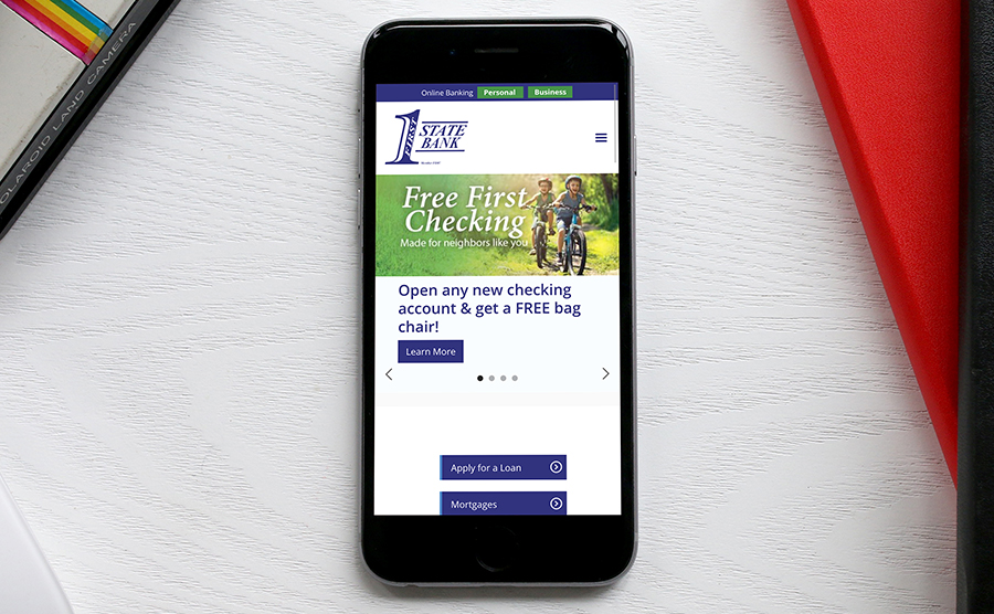 Phone Mockup website image of First State Bank Iowa
