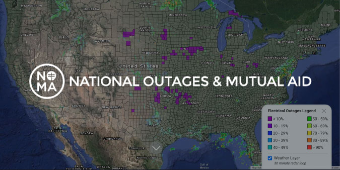 Electrical Outage Map provided by NOMA- nationaloutages.com
